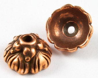7.5mm Antique Copper Tierracast Pewter Sprouting Seed Bead Cap #CKC147
