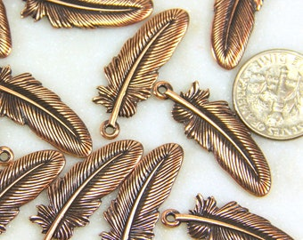 TierraCast Large Feather Charms, Double Sided Charms, Antiqued Copper,............ 4 Pieces, 4518
