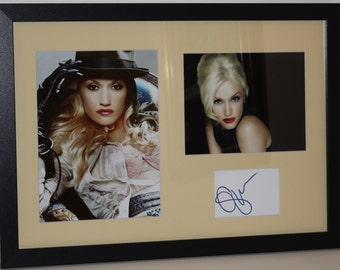 Gwen Stefani Hand Signed Autograph Index Card Framed and Matted To Final Size 14.5x20.5