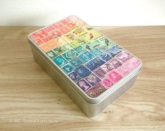 Rainbow Storage Tin | Quirky Colourful Travel Memento Tin | Empty Souvenir Box, Keepsake Gift Tin | Vintage World Postage Stamp Art Print