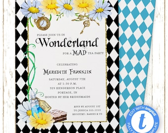 Alice in Wonderland | Alice Wonderland Bridal Shower | Printable Editable Digital PDF File | Instant Download | Templett | WSI132DIY
