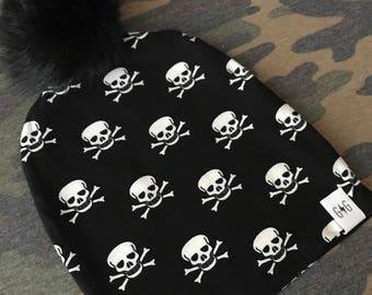 Baby Pom Pom Hat, Black White Skulls, Toddler Pom Pom Hat, Baby Hat, Fur Pom Pom, Slouchy Hat, Slouchy Pom Pom, Pom Pom Beanie, Baby Beanie