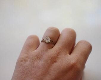 Size 7 10k Gold Diamond Ring, Raw Diamond Engagement Ring, Solid Gold Engagement Ring, Rough Diamond Ring, Raw Diamond Ring, Avello