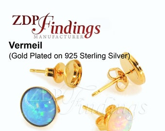 10pcs x Round Vermeil Bezel Earring Cups Shiny Gold Plated on 925 Sterling Silver,Ear Backs included, Choose your Size (62000SHGPV)