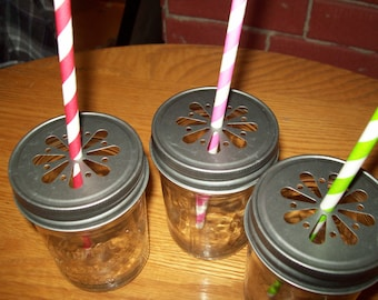 Pewter Daisy Stamped Mason Jar Lids Set of 6