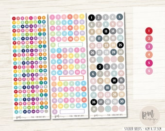 Date Dot Stickers - Tiny, Mini & Large - Planner Stickers - FS08