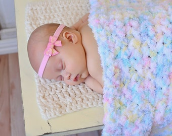 "Pastel Baby Blanket Pink Yellow Baby Blanket Aqua Blue Baby Blanket White Terry Cloth-like Photo Prop Newborn Baby Blanket Pastels 33"" x 33"""