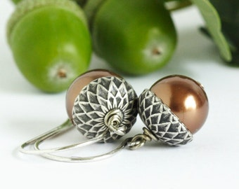 Acorn Earrings - Brown Pearls - Silver and Bronze - Fall Jewelry - Woodland Jewelry - Rustic Wedding - Autumn Earrings - Gift For Mom