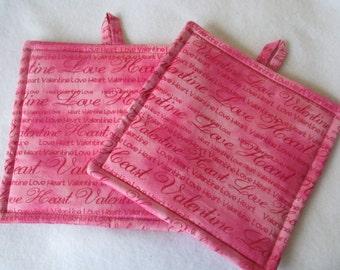 Pink Valentine Potholders Set of 2