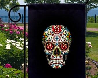Sugar Skull Roses New Small Garden Flag, Day of Dead Goth
