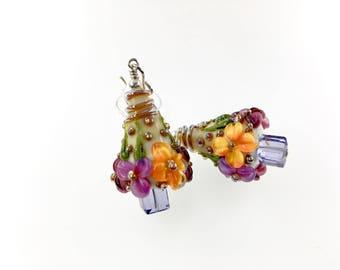 Lampwork Earrings, Glass Bead Jewelry, Gift Floral Dangle Earrings, Artisan Beadwork Earrings, Flower Earrings, Lampwork Jewelry