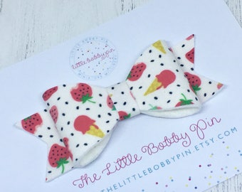 Strawberry anf ice cream Bow/Red Bow Hair accessories/Summer Hair Bow/Girls Hair Clips/Hair Bow Spring /Toddler Clips/Bow/Spring Bow