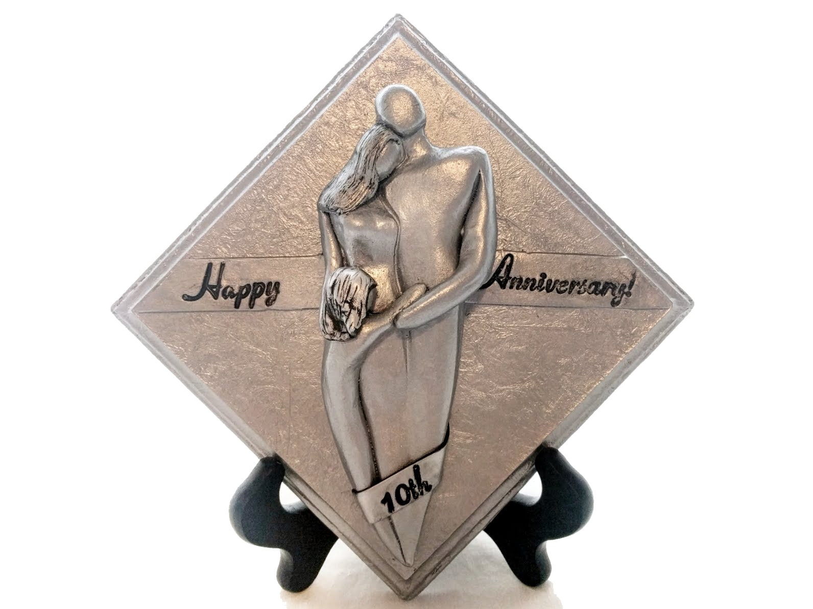 Happy th anniversary family of three plaque tin aluminum