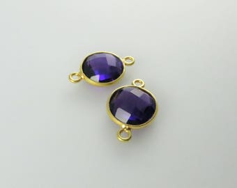 17mm Amethyst Bezel Gemstone Connector, Round Faceted, Gold-Filled - Matching Pair