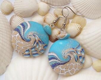 Wave Earrings, Beach Earrings, Blue Ocean Earrings, Turquoise Blue Earrings, Nautical Earrings, Beach Jewelry, Polymer Clay Earrings