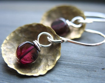 Garnet Earrings, Garnet Stone Hammered Brass Dome Earrings, Handmade stone earrings, Metalwork earrings