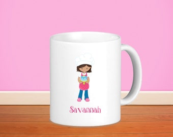 Baker Kids Personalized Mug - Baker Girl with Name, Child Personalized Ceramic or Poly Mug Gift