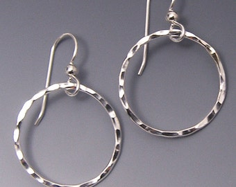 Silver Hoop Earrings, Hand Hammered Circle Dangle Earrings