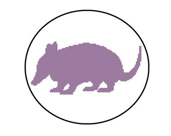 Counted Cross Stitch Pattern PDF - Armadillo Silhouette - CrossStitch Pattern Animal, Instant Download