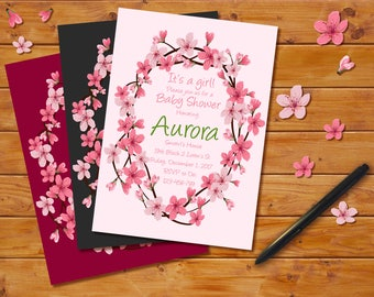 Cherry Blossoms Baby Shower Invitation, Floral Theme, Cherry Blossoms Announcement, Cherry Blossoms Invitation Card, Baby Shower Invitation