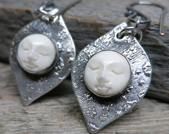The Moon Shines Bright earrings ... recycled fine silver / sterling silver / hand carved crescent moons