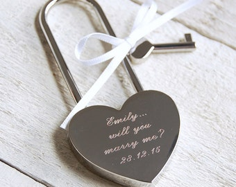 Engraved Love Padlock - Script Font (Heart Lock) ~ Personalised Engagement, Wedding, Anniversary, Birthday, Valentines Gift
