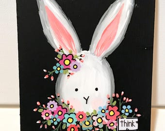 Easter Bunny, Spring Decoration, Bunny Sign, Spring Bunny Sign, Whimsical Floral Rabbit