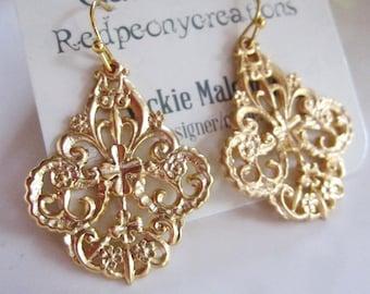 Ornate Gold Earrings, Gold Filigree, Scalloped Edged Earrings, Bohemian Dangles, Tribal Gold Earrings, Gold Moroccan filigre
