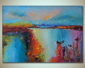 Landscape Art, Abstract Painting, Seascape Oil Painting Blue Purple Pink Red, Wall Art, Abstract Canvas Painting, Original Abstract Painting