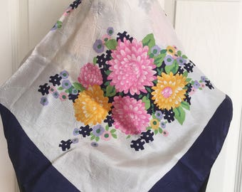 Fabulous Vintage Italilan Scarf  in Hot Pink, and Yellow Floral Pattern Summer Scarf- FREE SHIPPING EVERYWHERE