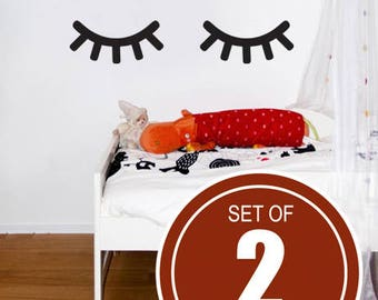 Eyelashes decor, Sleepy Eyes decor,Sleepy Eyes Wall Decoration,Eyes wall decal, Kids Wall Decal,Door Decal, Eyes Sticker, nursery wall decal