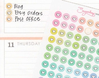 Mini Love Heart Dots Planner Stickers, 120 x 0.25 Inch, Pastel Multi Colored, Checklist Dots, Planner Dots, Highlight Stickers, DOT14