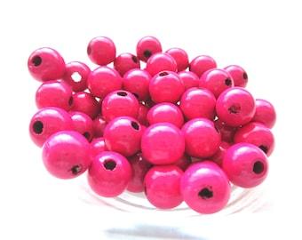 50 wooden pacifier clip 8mm - Fuchsia beads