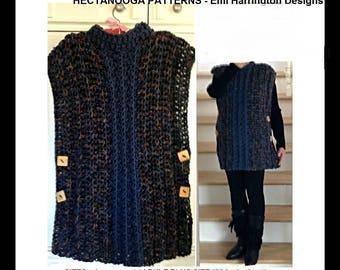 crochet PATTERN, Poncho Pattern, crochet sweater, crochet poncho, women's clothing, child, teen clothing, plus size, #2116 crazy easy poncho