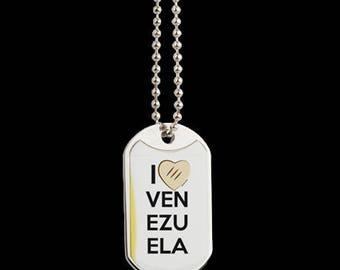 I Love Venezuela Dog Tag Necklace
