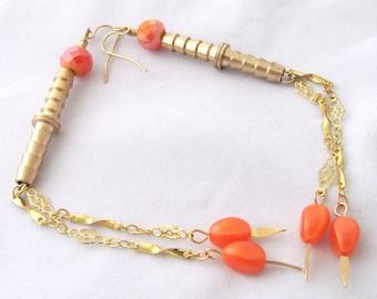 Brass Plumbing Connector Earrings Orange Earrings Vintage Bead Earrings Shoulder Duster Earrings Gift Ideas for Girlfriends