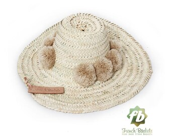 Straw Hats pompom sand : French Basket, Straw Hats  straw hat men  straw hat women  sun hat  beach hat straw hat   straw hat hat pom pom