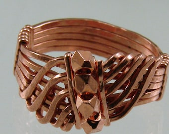 Handcrafted Copper Wire Wrapped Wave Ring with Copper Hex Beads - Any Size