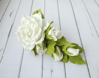 White Rose Hair Clip - Formal Flowers Wedding Side Hair Piece - Designer White Wedding Hair Accessories - Prom White Flowers Handmade Hair