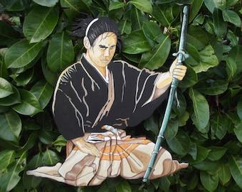 Samurai meditation before the Asian Chinese Japanese fight