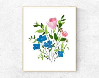 Flower Art Print - Collage Illustration - Wall Art Home Decor