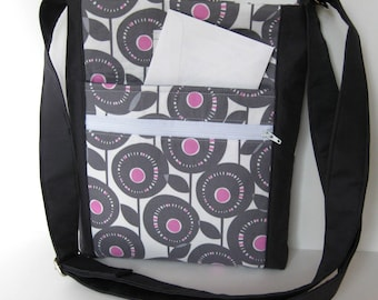 Orchid and dark gray crossbody purse with pockets and adjustable straps
