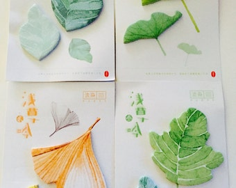 Watercolor Leaf Sticky Notes in 4 Patterns