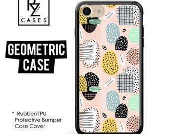 Geometric Phone Case, Geometric iPhone Case, Rubber Case, Dots Case, iPhone 7, Gift for Her, iPhone 7 Plus, iPhone 6S, Bumper Case