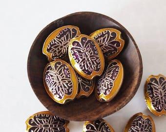 2 Metal Cloisonne Butterfly Beads Or Pendants Oval Shape Purple Golden Yellow Size 20 x 14mm