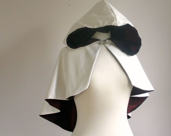 Assassin's Style Hooded Cape white faux leather cosplay capelet with satin lining