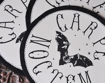 Handmade Screen Printed Fabric Apparel 'Carpe Noctem' Patch / Back Patch