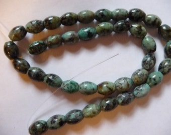 "SALE!! African ""Turquoise"" Bead,(dyed), 10x8mm, Oval, C grade. Pack of 8 beads. SALE!!"