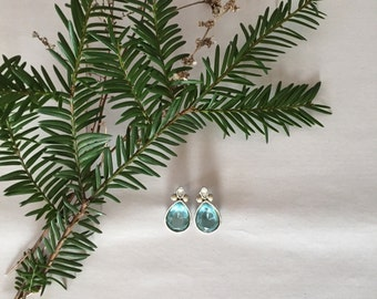 ICE BLUE french antique inspired earrings | scroll ornament studs