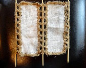 Animal de compagnie fait main filet Jute / échelle double Crochet en bambou pour ermite crabes, ou oiseaux oiseaux hamac toile de jute ficelle rampe grimpeur net